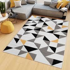 teppich kurzflor weiß grau gelb modern geometrisch dreiecke