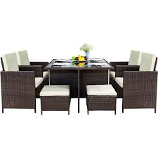 LZ LEISURE ZONE 9 Piece Patio Furniture Dining Set Outdoor Garden Wicker  Rattan Dining Table Chairs Conversation Set With Cushions Modway Endeavor Outdoor Patio Wicker Rattan Ding Armchair Hospality Kenya Chair In Black Desk Chairs Byron Setting Aura Fniture Excellent For Any Rooms Bar Harbor Arm Model Bhscwa From Spice Island Kubu Set Of 2 Hot Item Hotel Home Office Modern Garden J5881 Dark Leg
