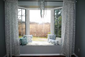 Living Room Curtain Ideas For Bay Windows by Enticing Curtains With Room Bay Plus Window Seat Saving Green
