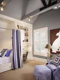 Mid Sized Farmhouse Gender Neutral Carpeted Kids Bedroom Idea In Houston With Gray
