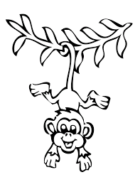 Monkey Coloring Pages Black And White Cute For Kids Animal Sheet Colouring Templates Printable Adults From Cutecoloringpages