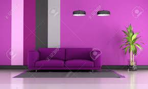 zeitgenössisches wohnzimmer mit lila sofa auf teppich 3d rendering