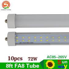 10 pcs fa8 single pin base 8ft t8 led light 72w row