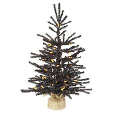 2 Ft Black Pistol Artificial Christmas Tree With Orange LED Lights