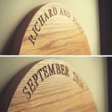 Large Handmade Solid Oak Engraved Personalised Wooden Wedding Cake Stand Anniversary Present Gift