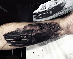 Muscle Car Tattoos For Men In Black Ink