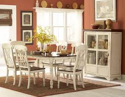 Ortanique Dining Room Table by Ohana Casual Antique White Warm Cherry Wood Rectangle Dining Table