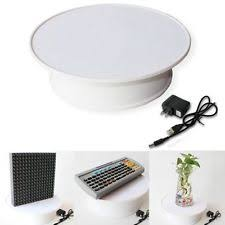 Round White Velvet Top Electric Motorized 360 Rotating Display Stand Turntable