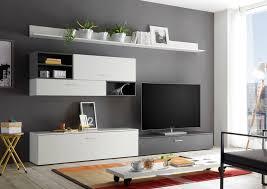 89 716 h1 new vision weiß grau wohnwand anbauwand wohnzimmerschrank tv schrank ca 300 cm