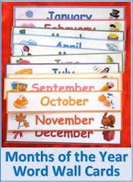 Months Of The Year Word Wall Cards For Backtoschool