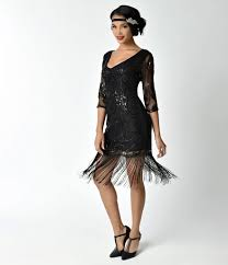 Unique Vintage Black Beaded Sequin Margaux Sleeved Fringe Cocktail Dress