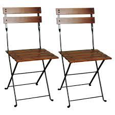 European Café Chestnut Wood Slat Bistro Folding Side Chair, Set Of 2