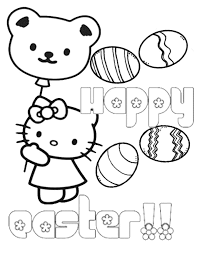 Hello Kitty Bear Balloon Eggs Easter Coloring Page