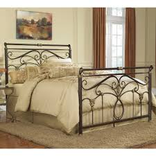 Wesley Allen Headboards Only by Lucinda Iron Bed Marbled Russet Finish Traditional Scroll Work