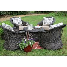 Sams Patio Seating Sets by Ae Outdoor Beltline 5 Piece All Weather Wicker Swivel Conversation