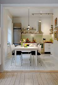 Contemporary Apartment Kitchen Decorating Ideas For Small Space With Wooden Table And White Gloss