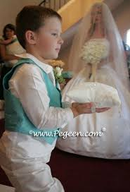 Tiffany Blue Vest And Silk Ring Bearer Boy Knicker Set Goes Down The Aisle