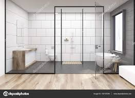 badezimmer mit glaswand stockfotografie lizenzfreie fotos