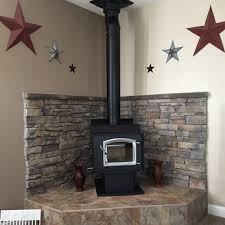 Corner Wood Stove Hearth Porcelain Faux Wood Tile Backdrop Cement