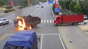 100 Truck Crashes Video VIDEO Motorcyclist Crashes Into Truck Catches Fire In China