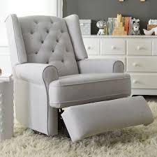 Best Chairs Finley Swivel Glider Recliner Gray Tweed Babies