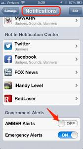 iPhone turn off Amber Alerts