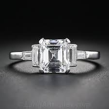 deco square rings an almost square and almost emerald cut