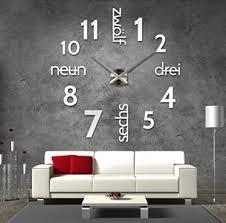 3d silberne riesen designer wanduhr wohnzimmer