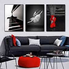 yiyitop moderne schwarz weiß ballerina leinwand malerei