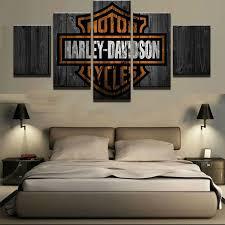 Harley Davidson Motorcycles Canvas Barn Wood Style