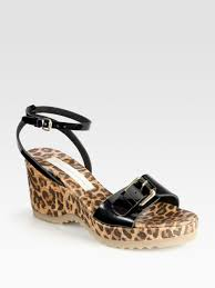 stella mccartney linda leopard print cork wedge sandals in black