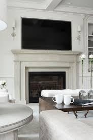 Light Gray Limestone Fireplace with TV Niche Transitional