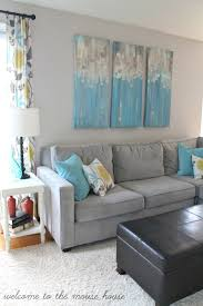 Grey And Turquoise Living Room Decor by The New Family Room Reveal