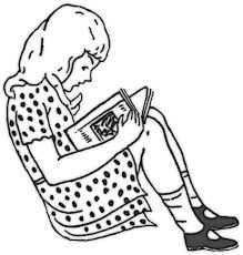 This Coloring Page Features A Girl Wearing Polka Dot Dress Reading Book