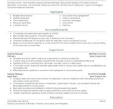 Restaurant Manager Resume Examples For Sample Objectives