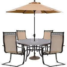 Hanover Manor 5 Piece Outdoor Dining Set With A 60 In Cast Top
