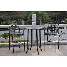 3 Piece Bar Height Patio Bistro Set by Three Posts Snowberry 3 Piece Wrought Iron Bar Height Bistro Patio