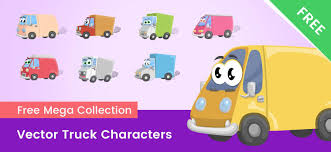 100 Free Truck Cartoon Vector Characters Collection Vector