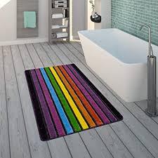 paco home badematte kurzflor teppich für badezimmer mit