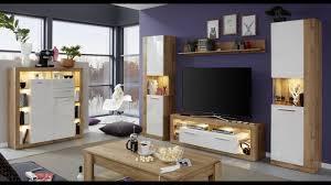 wohnzimmer rock in weiß hochglanz und wotan eiche dekor
