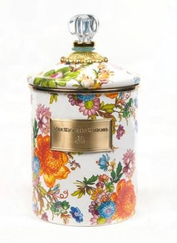 MacKenzie-Childs Flower Market Medium Enamel Canister - White