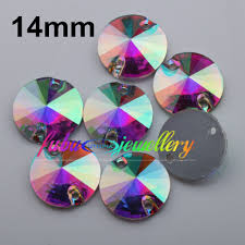 100 Ab Flat Free Shipping 100pcsLot 14mm Crystal AB Clear AB Back