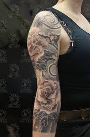 Tattoo Japanese Peony Black And Grey Sleeve By Darko Groenhagen