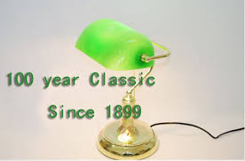Bankers Lamp Green Glass Shade by Vintage Brass Bankers Lamp With Green Glass Shade In Table Lamps
