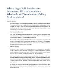 VoIP Resellers For Businesses And Wholesale Voip Termination Providers