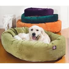 majestic pet bagel dog bed in khaki and sherpa praise your pet
