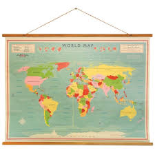 cadeau rétro carte murale world map axeswar design