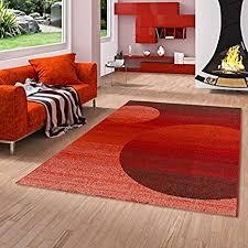 softstar designer teppich rot orange kreise in 3 größen
