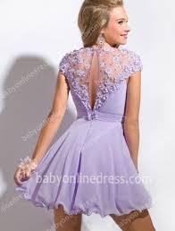 2017 illusion prom gowns cap sleeve flower appliques sshort purple