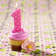 Default Image Pink 1st Birthday Polka Dot Candle